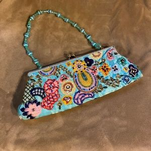 Beaded and Embroidered  Design Clutch Purse